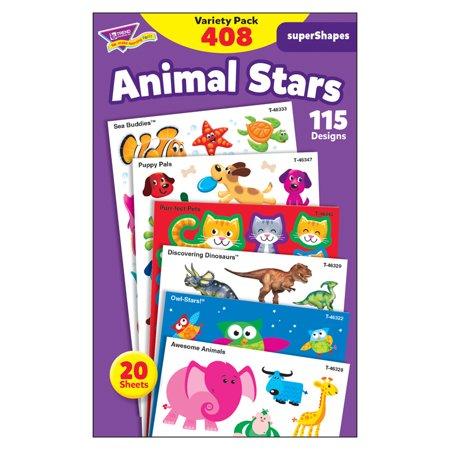 (3 PK) ANIMAL STAR LG VARIETY PK STICKERS SUPERSHAPES