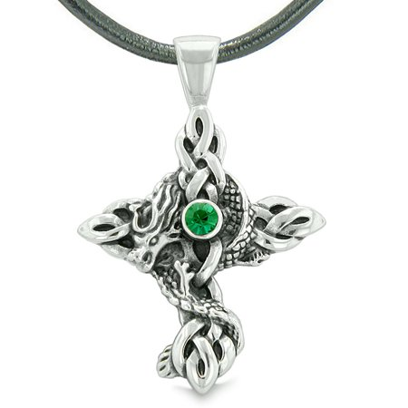 - Fire Dragon Protection Celtic Knots Cross Power Magic Amulet Royal Green Crystal Pendant Leather Necklace