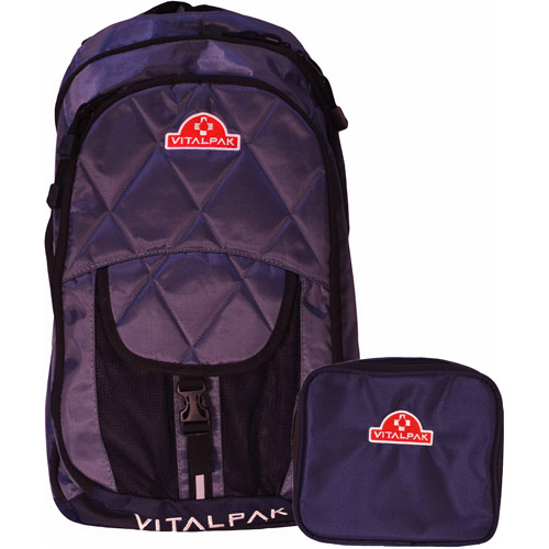 VitalPak Medical Backpack with Removable, Snap-In Essentials Kit, Dark Grey/Navy