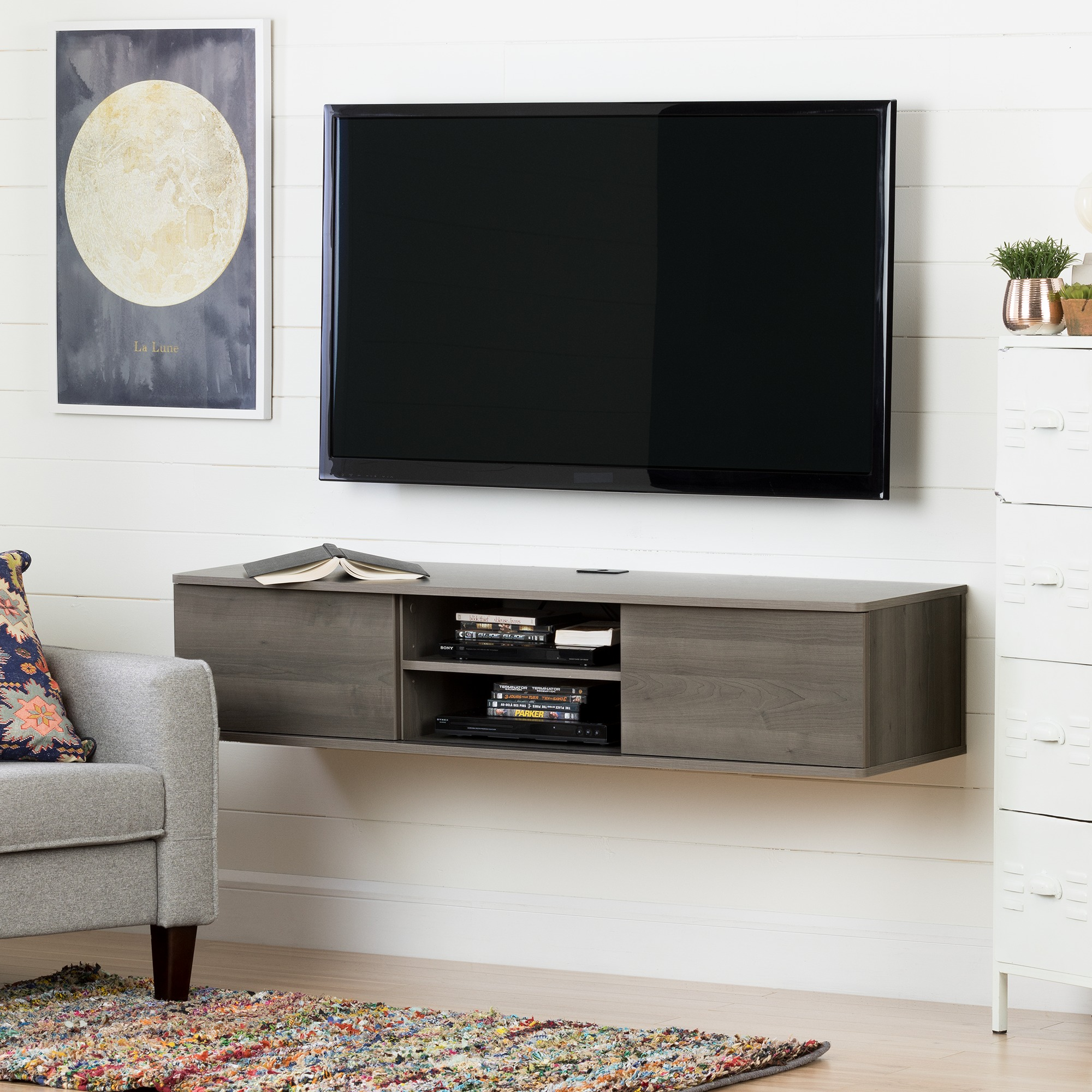 "South Shore Agora 56"" Wide Wall Mounted Media Console, Multiple Finishes by South Shore"
