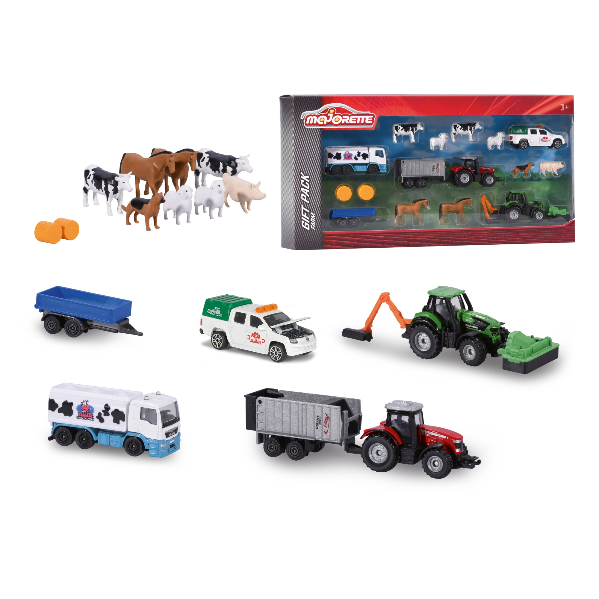 Majorette Farm Die-Cast 16 Piece Playset, 1:64 Scale by Dickie Toys