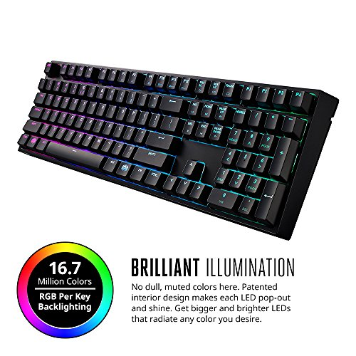 MasterKeys Pro L Mechanical Keyboard with Intelligent RGB, Cherry MX Brown Switches, Multiple Lighting Modes and 100% Layout