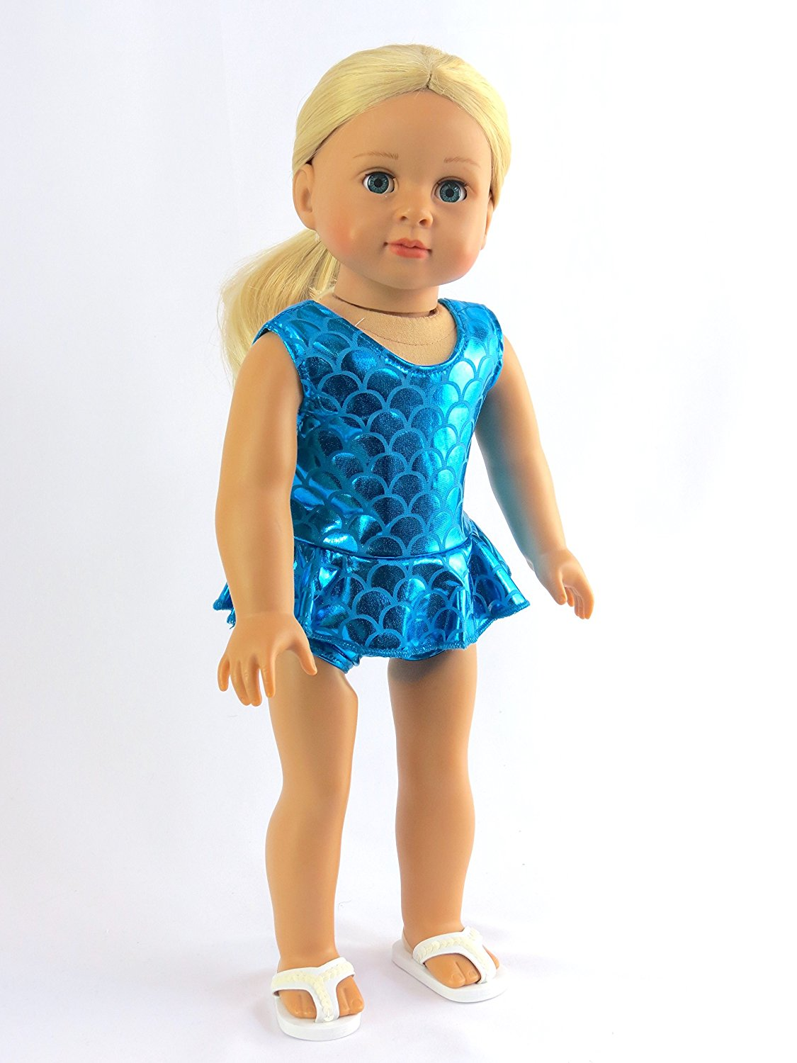 """Metallic Mermaid Bathing Suit for 18 Inch Doll 