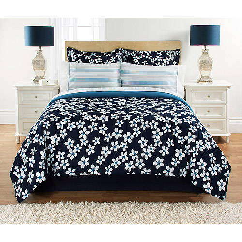 Mainstays Floral Navy Bed in a Bag Bedding