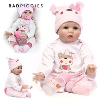 "BadPiggies 22"" Lifelike Reborn Baby Doll with Soft Body Realistic Vinyl Handmade Toy Doll with Clothes Kids Gifts"