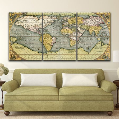 Vintage Giclee Canvas (wall26 - 3 Panel Canvas Wall Art - Vintage World Map - Giclee Print Gallery Wrap Modern Home Decor Ready to Hang - 24