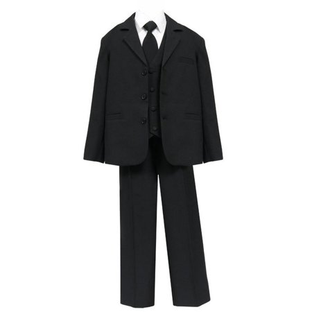 Big Boys Black 5 Pcs Shirt Vest Jacket Tie Pants Husky Suit
