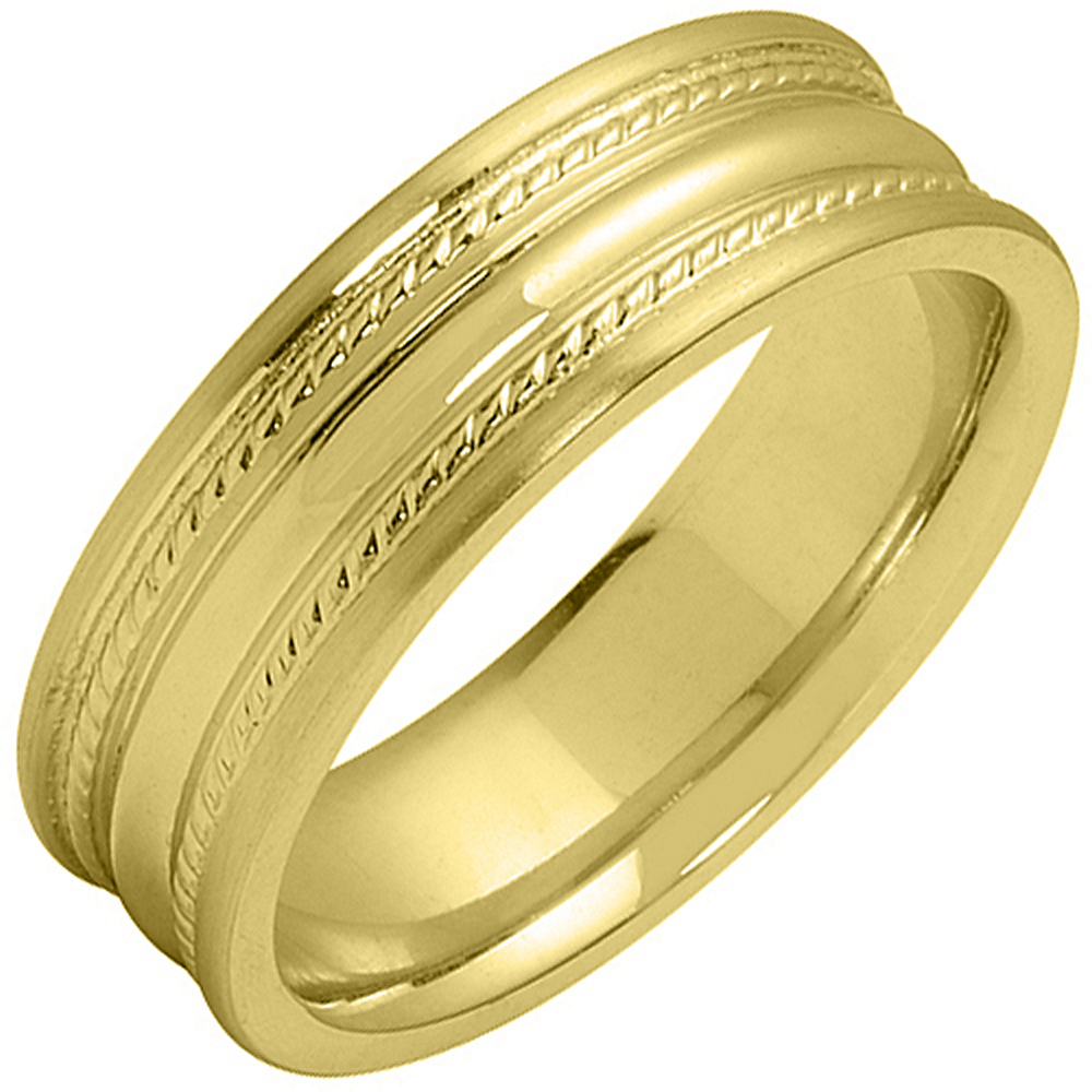 14K Yellow Gold Mens Wedding Band 6mm High Gloss Braided Comfort Fit
