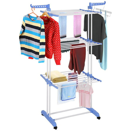 Generic 3 Tier Clothes Dryer Rack Foldable Laundry Drying Hanger Airer Compact Storage Steel Indoor Outdoor with 4 Rolling Lockable casters (Clothes Dryer Rack)