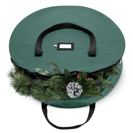 ShopoKus Holiday Christmas Wreath Storage bag, Made Of Tear Resistant 600D Oxford Material Storage Bag For Christmas Wreath With Smooth Zipper And Card Slot For Labeling - 36 x 36 x 8 In. - Green