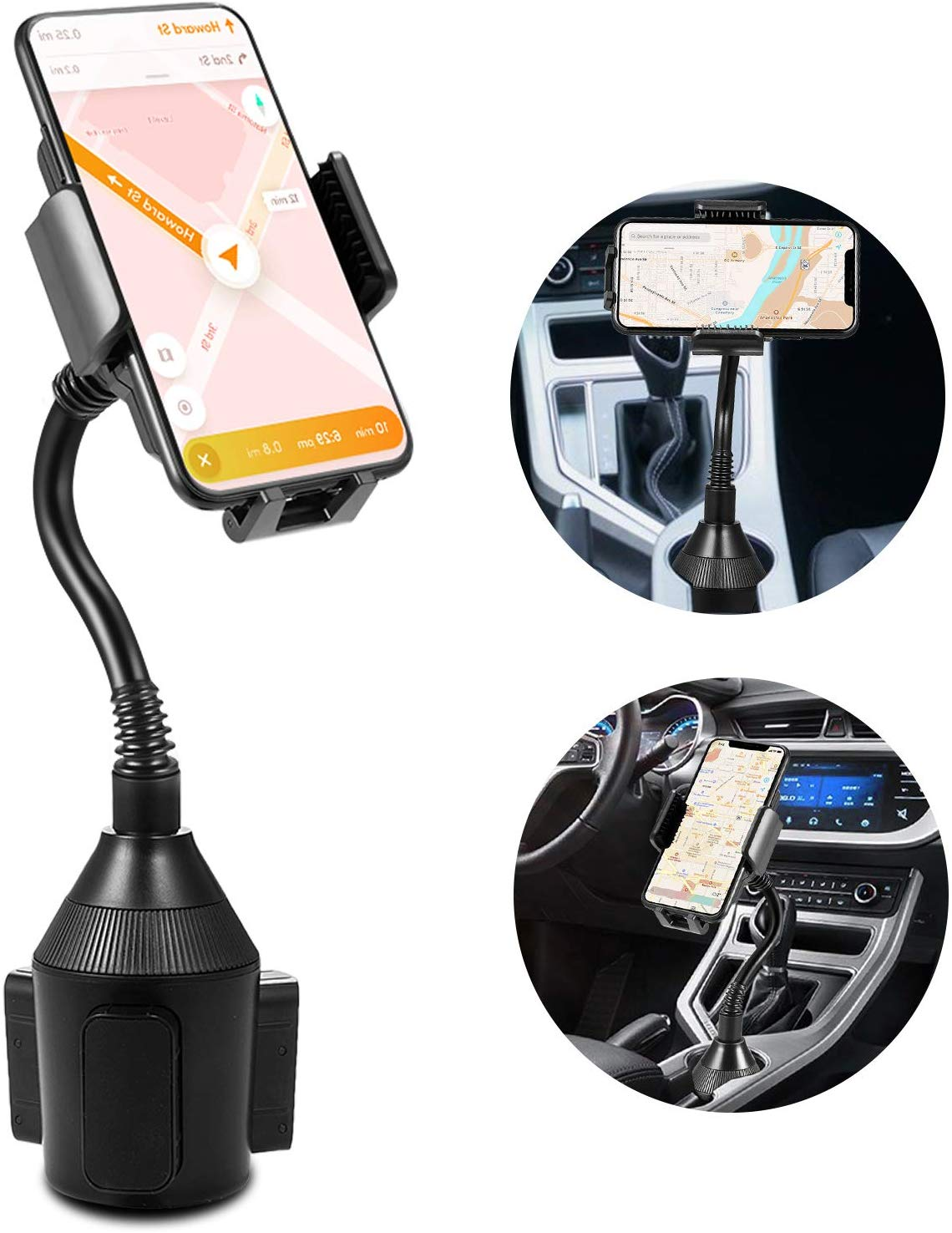 8//8 Plus EAGWELL Universal Car Cup Holder Phone Mount with 360/° Rotatable Cradle Car Mount for iPhone Xs//XS Max XR X Galaxy S9