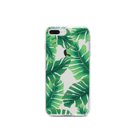 "DistinctInk Clear Shockproof Hybrid Case for iPhone 7 PLUS / 8 PLUS (5.5"" Screen) - TPU Bumper, Acrylic Back, Tempered Glass Screen Protector - Tropical Banana Leaves"