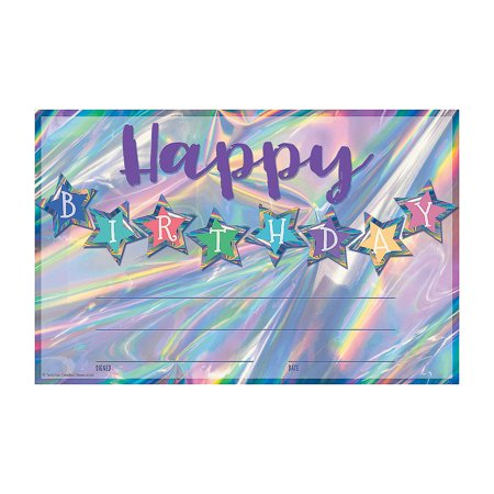 Fun Express - Irridescent Happy Birthday Certificate - Stationery - Awards - Award Ribbons & Paper Certificates - 30
