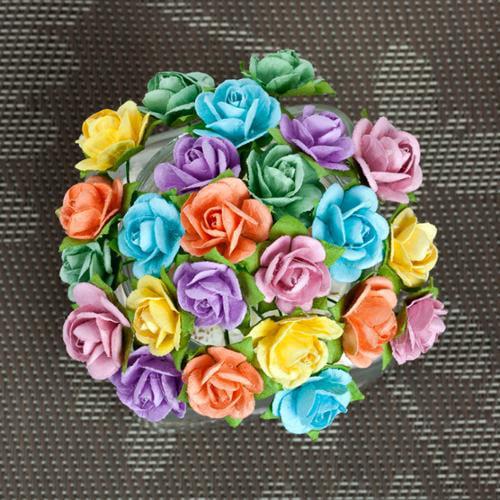 """Mini Sachet Paper Flowers .5"""" To .75"""" 24/Pkg-Spring"""