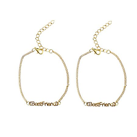 Art Attack Goldtone Matching Duo BFF Best Friends Block Letter Bracelet Charm Gift