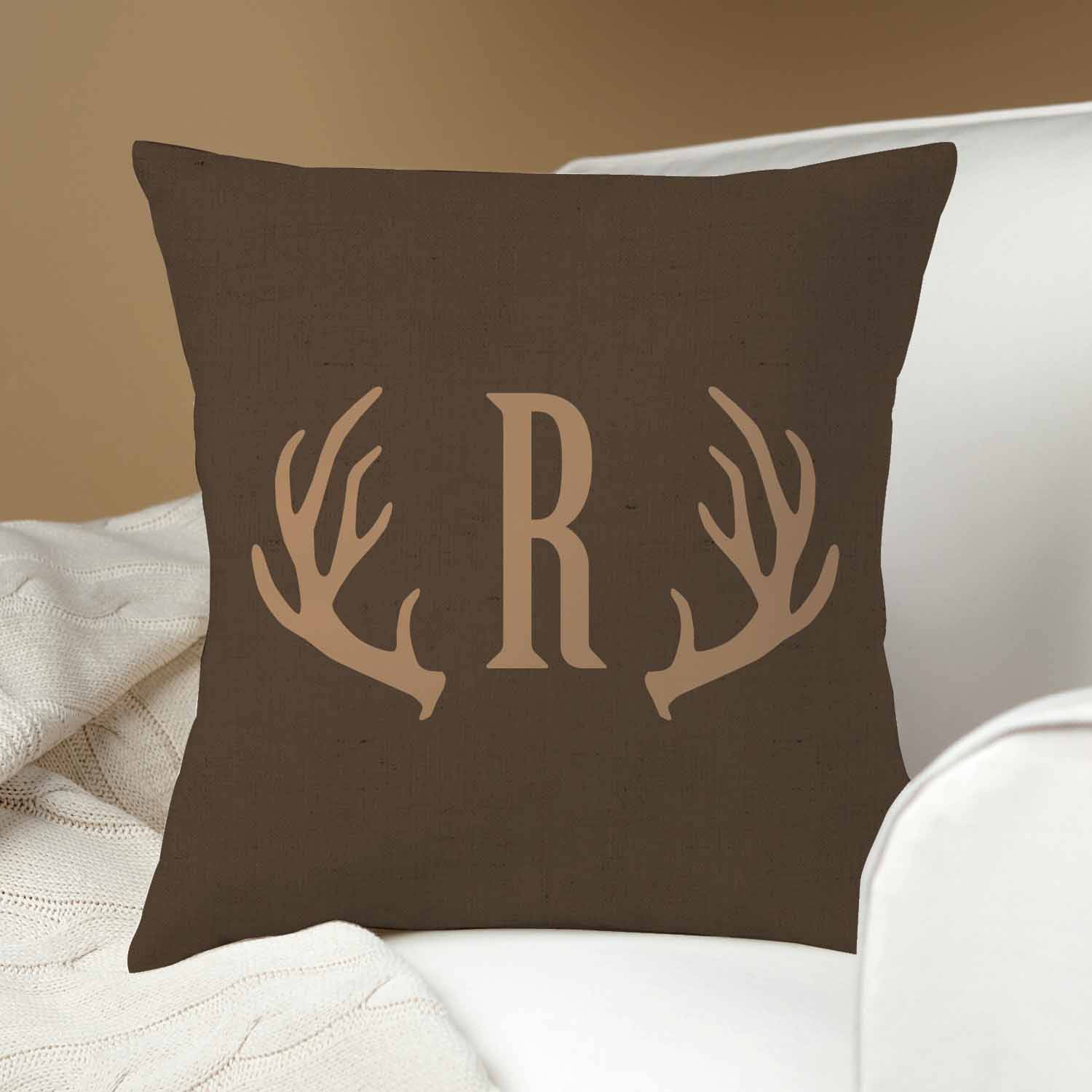 Personalized Antlers Throw Pillow, Dark Brown