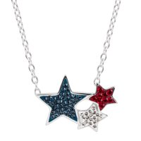 Crystaluxe Red, White, & Blue Star Necklace with Swarovski Crystals in Silver