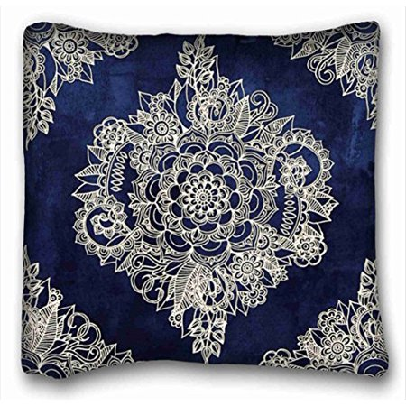 WinHome Square Throw Pillow Case Cases Cover Cushion Covers Cream Floral Moroccan Pattern On Deep Indigo Ink Sofa Size 20x20 Inches Two -