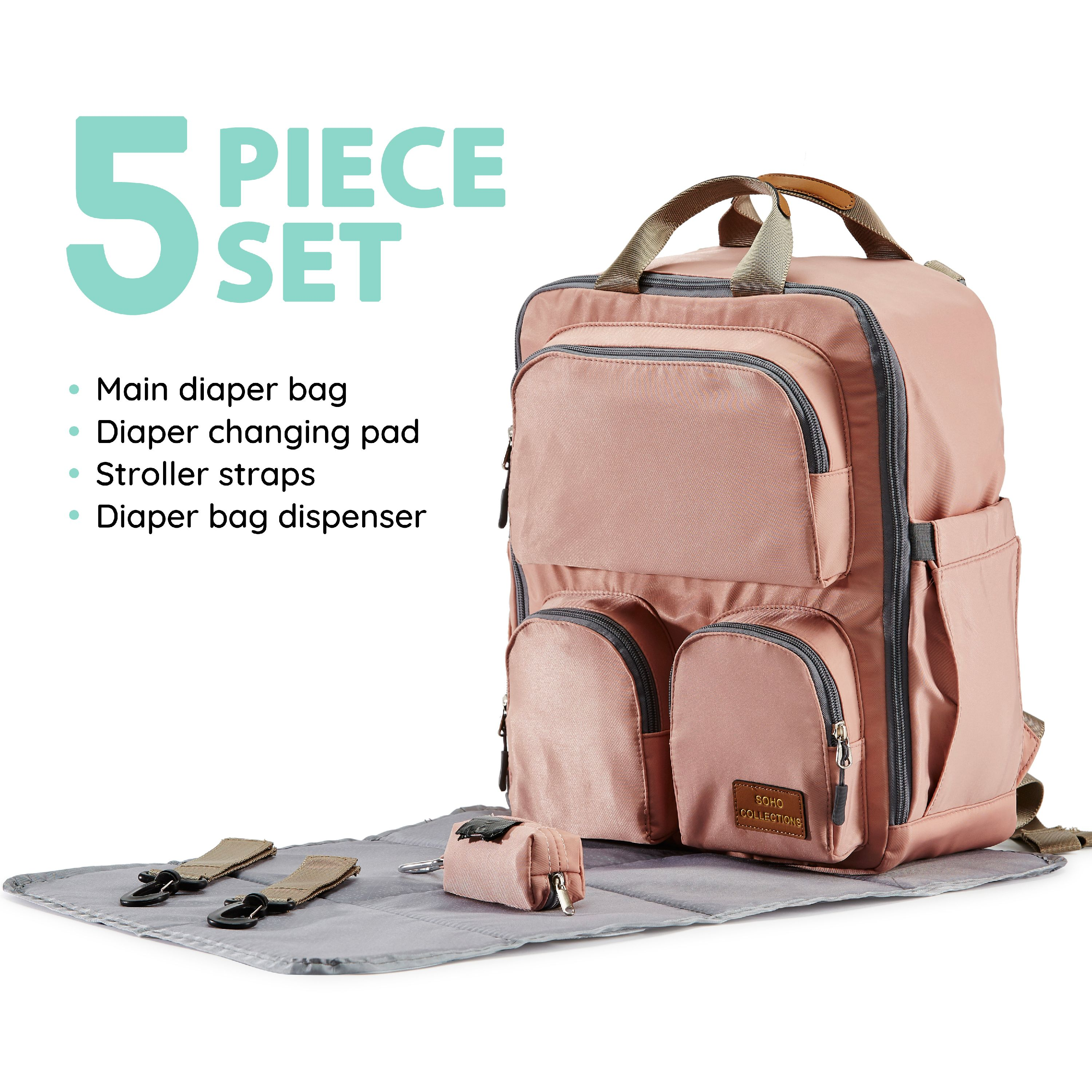SoHo Collections, Waterproof Diaper Bag Tote Backpack, Unisex, 5 Piece Set with Stroller Straps, Daily Essential (Pink)