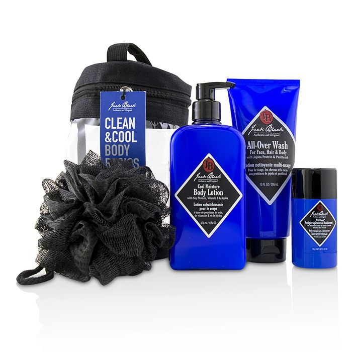 Jack Black Clean & Cool Body Basics Set: All Over Wash 295ml + Pit Boss Deodorant 78g + Cool Moisture Body Lotion 473ml + Netted Sponge