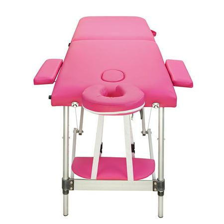 Foldable Aluminum Portable Relaxing Massage Table 2 Sections Folding Salon SPA Body Building Bed ()