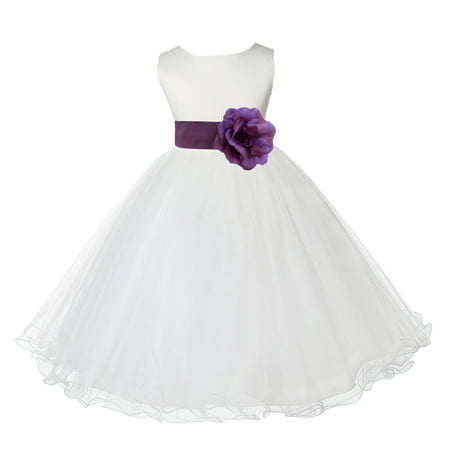 Ekidsbridal Ivory Satin Tulle Rattail Edge Flower Girl Dress Bridesmaid Wedding Pageant Toddler Recital Easter Holiday Communion Birthday Baptism Occasions - First Communion Flower Girl Dresses