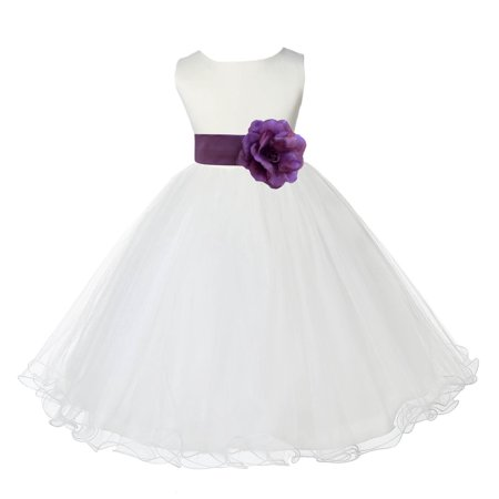 Flower Girls Dresses (Ekidsbridal Ivory Satin Tulle Rattail Edge Flower Girl Dress Bridesmaid Wedding Pageant Toddler Recital Easter Holiday Communion Birthday Baptism Occasions)