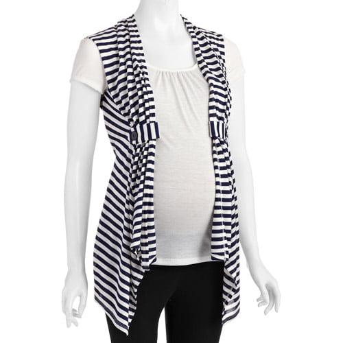 Planet Motherhood Maternity Striped Cardigan 2fer Top