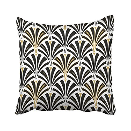 WinHome Retro Art Fashion Deco Fan Pattern Black And White Decorative Polyester 18 x 18 Inch Square Throw Pillow Covers With Hidden Zipper Home Sofa Cushion Decorative - Art Deco Style Sofa