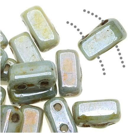CzechMates Glass 2-Hole Rectangle Brick Beads 6x3mm - Opaque Green Luster /1 (Sgr Light)