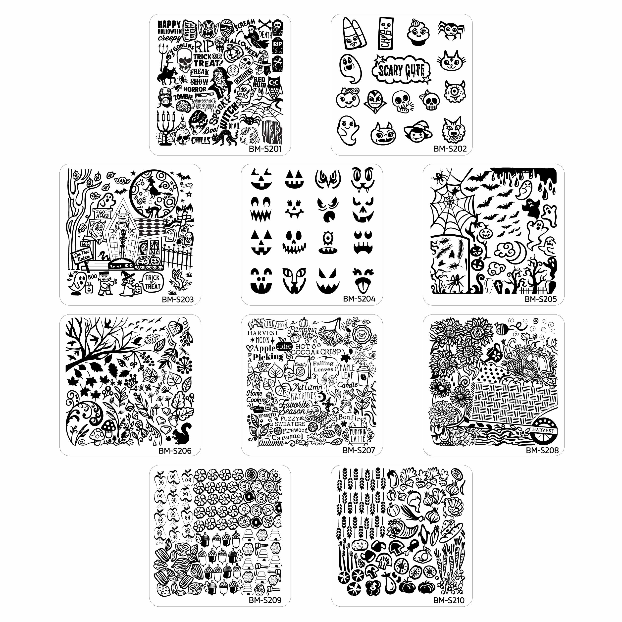 Bundle Monster 10pc Occasions Nail Art Stamping Plates - Halloween Thanksgiving