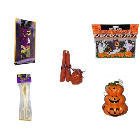 Halloween Fun Gift Bundle [5 Piece] - Happy  Door Panel - Ghostly Magic Paper Trimmer 3.75 in x 9 ft. - Autumn Orange-spice Candles Set of 3 - Skeleton Server  - Motion-activated Spooky Sound & Ligh