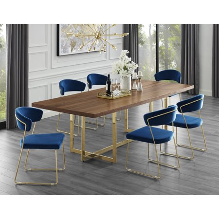 Yehuda Walnut/Gold Dining Table | 94.5 Inch | Wood Veneer | Stainless Steel Base | Modern Design ()