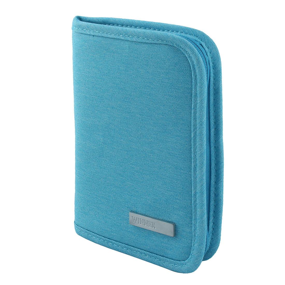 Business Travel Passport Holder Credit ID Card Cash Wallet Cover Document Bag Sky Blue