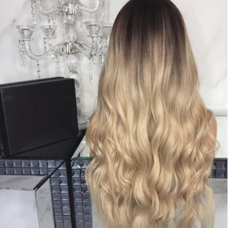 Flexible Soft 28 Women Lady Full Long Curly Wavy Blonde Natural Wig Ombre Wigs Synthetic (Synthetic Full Lace Wigs)