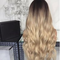 Flexible Soft 28 Women Lady Full Long Curly Wavy Blonde Natural Wig Ombre Wigs Synthetic Hair