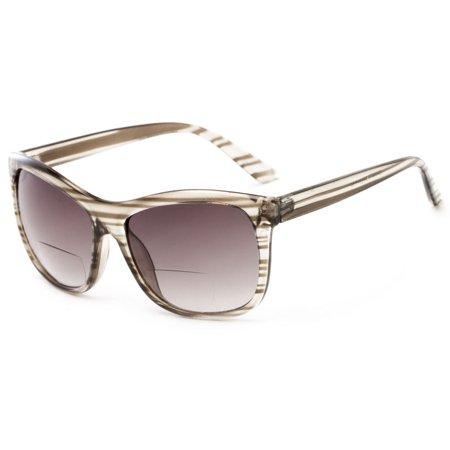 d5fec248ed6 Readers.com The Praline Bifocal Sun Reader +3.00 Grey Stripe Womens Square Reading  Sunglasses - Walmart.com