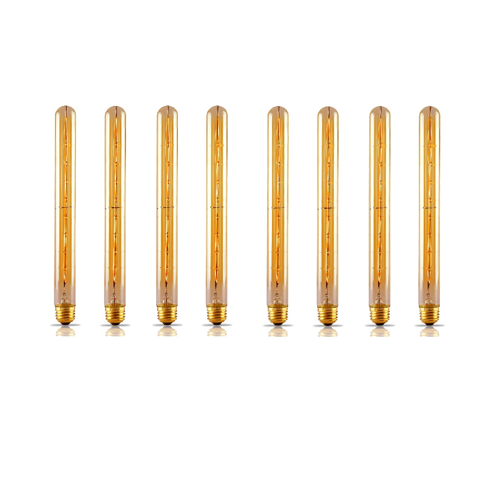 TORCHSTAR Dimmable T30 Filament Vintage Light Bulbs, Flute Tungsten, 300mm, E26, Pack of 8