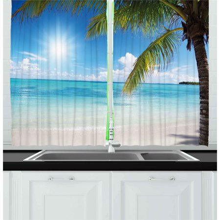 Summer Curtains 2 Panels Set, Tropical Paradise Beach with Coconut Palms Crystal Ocean Clear Sky, Window Drapes for Living Room Bedroom, 55W X 39L Inches, Sky Blue Fern Green Pearl, by Ambesonne