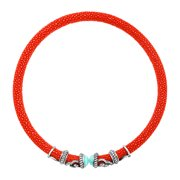 Amazonite & White Topaz Rope Scroll Coral Red Stingray Choker in Sterling Silver
