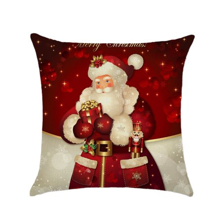 Decorative Throw Pillows Case Merry Christmas Gift Cotton Linen Seat Cushion Cover Home Decor Sofa Pillowcase ()