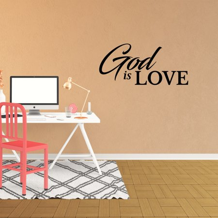 Wall Decal Quote God Is Love Decor Christian Wall Art Kids Room Vinyl Sticker JP848 (Kids Love Stickers)