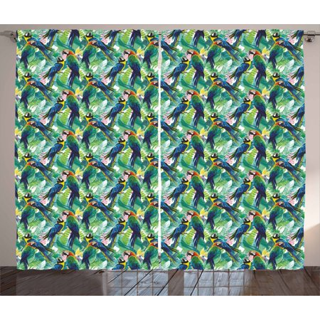 Birds Curtains 2 Panels Set, Portrayal Illustration of Scarlet Macaw Parrots Among Exotic Plants in the Jungle, Window Drapes for Living Room Bedroom, 108W X 63L Inches, Multicolor, by (Parrot Curtain)