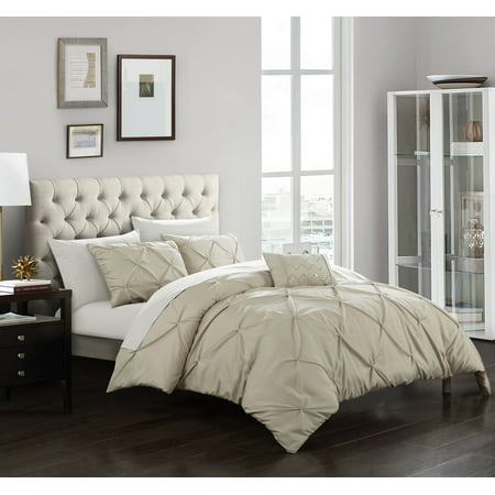 3 or 4 Piece Whitley Pinch Pleated, ruffled and pleated complete  Duvet Cover Set  Shams and Decorative Pillows included