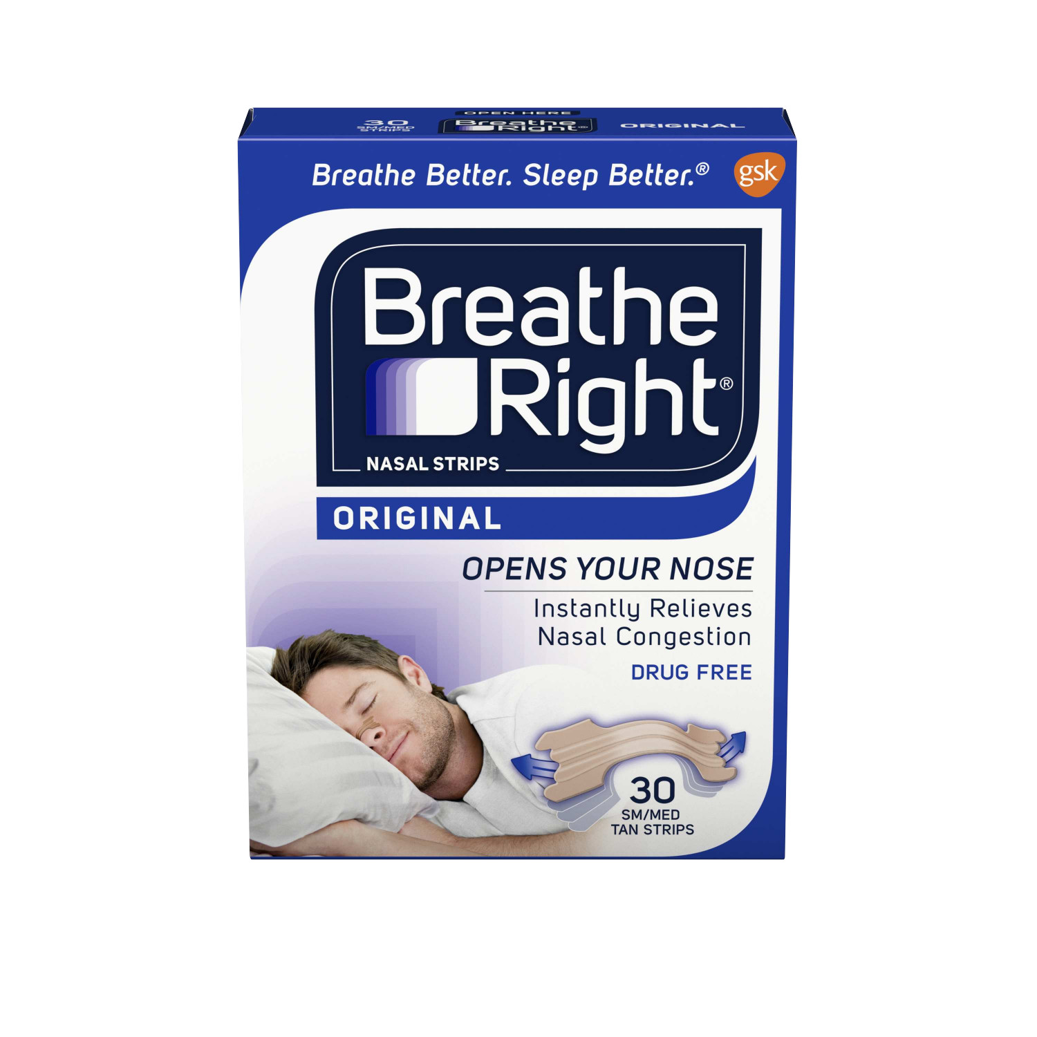Breathe Right Original Tan Small/Medium Drug-Free Nasal Strips for Nasal Congestion Relief, 30 count