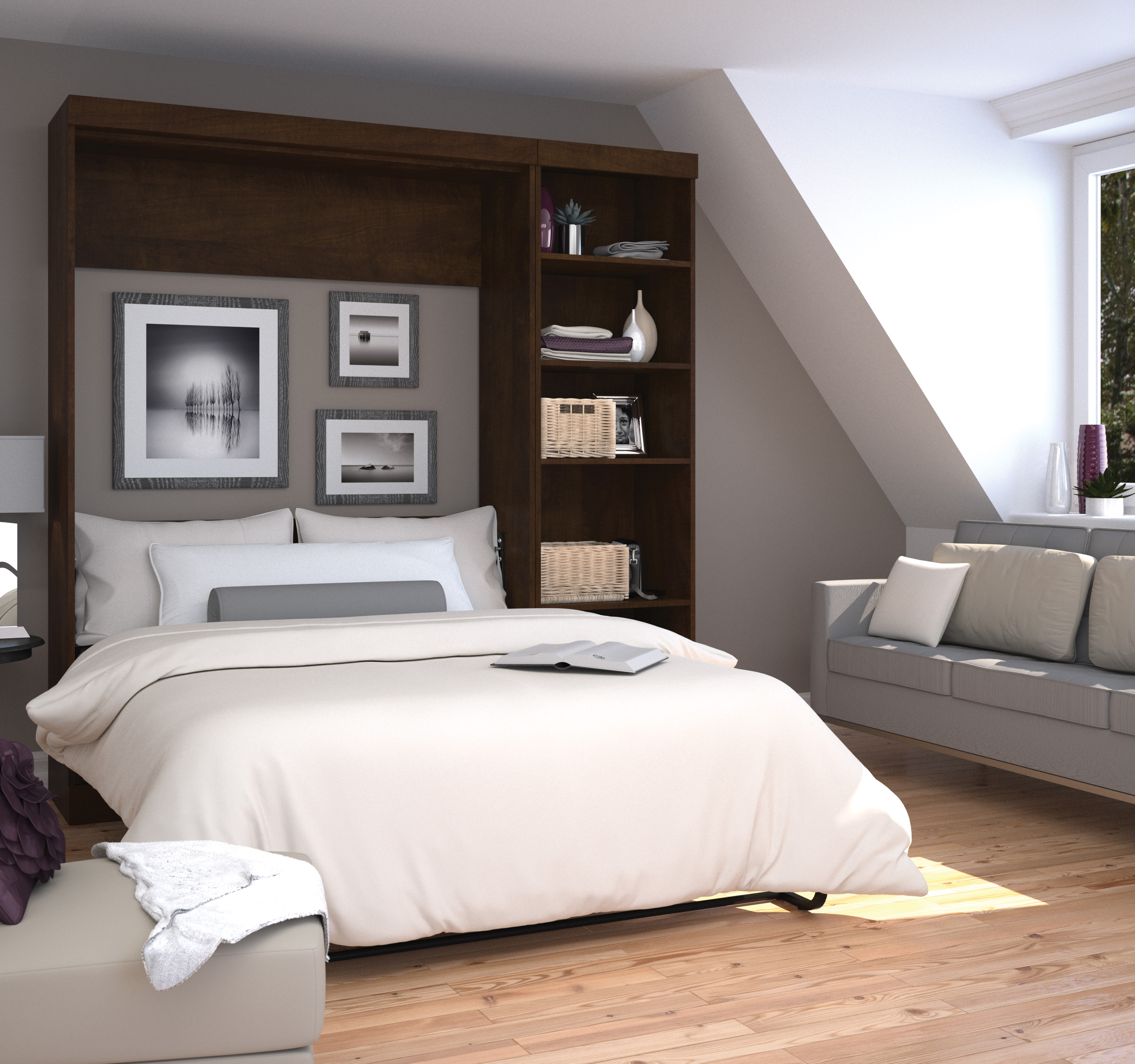 "Pur by Bestar 84"" Full Wall bed kit in Chocolate"