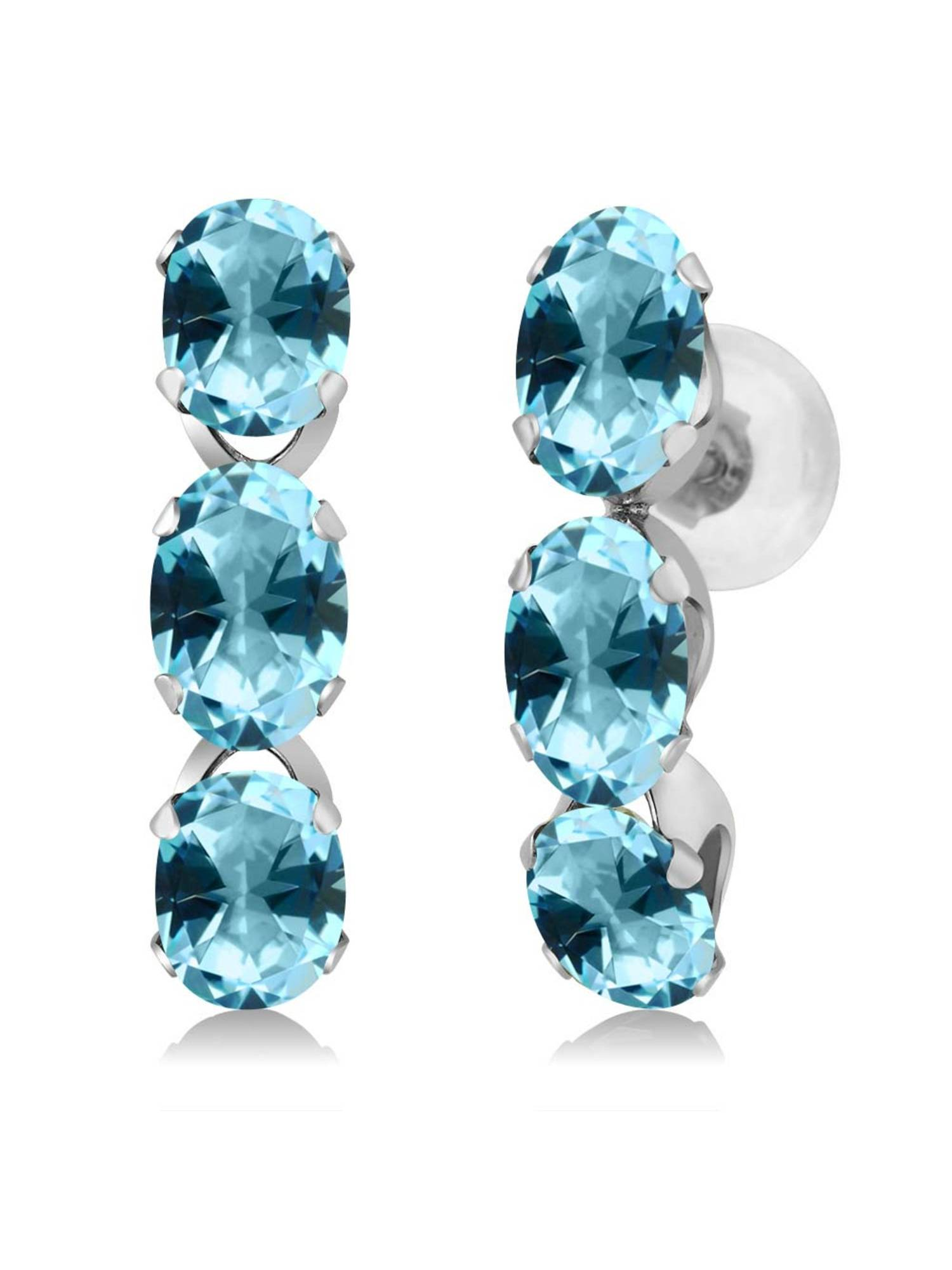 14K White Gold Earrings Set with Oval Ice Blue Topaz from Swarovski by