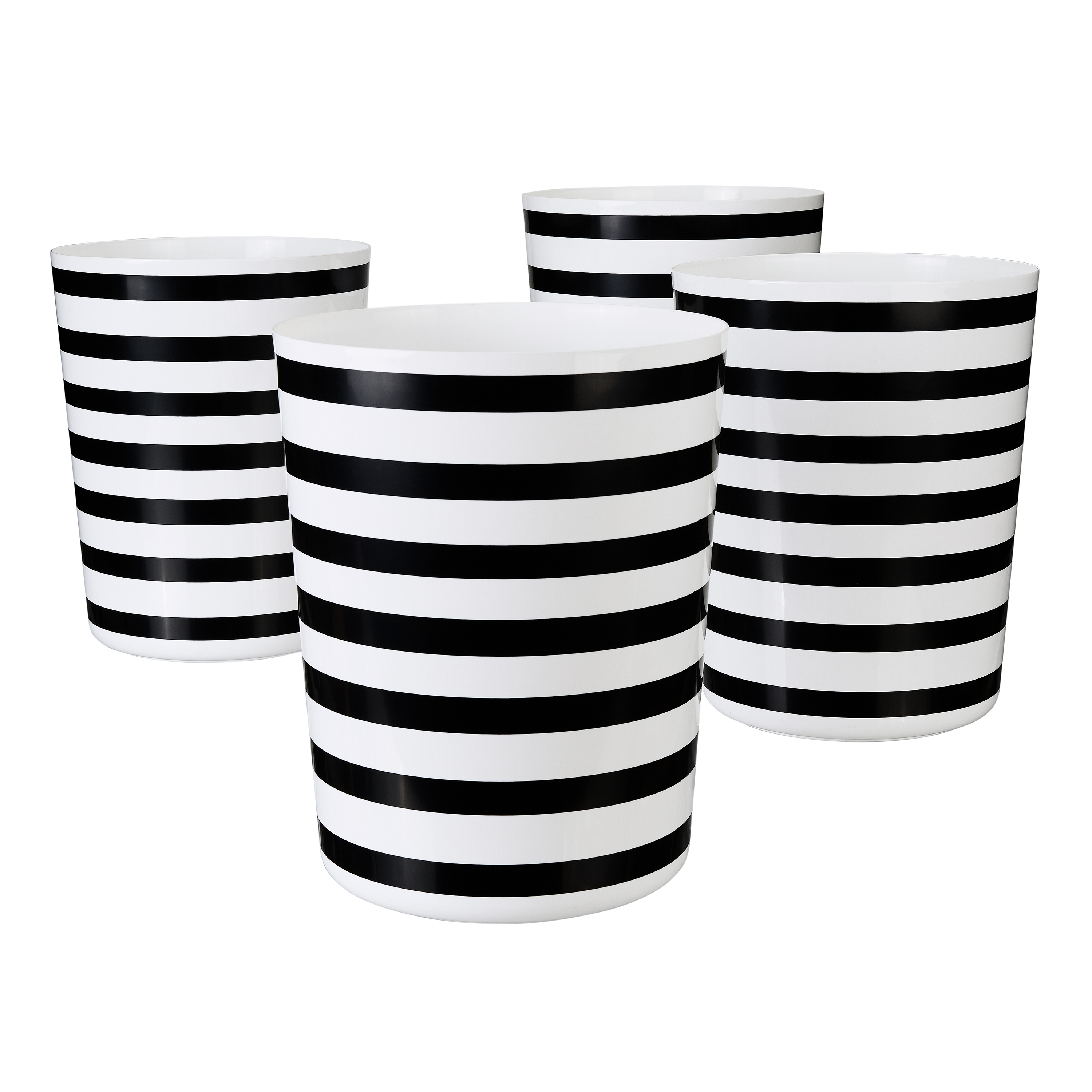 Mainstays Nautical Striped Waste Trash Can, 5 Gallon, 4 pack