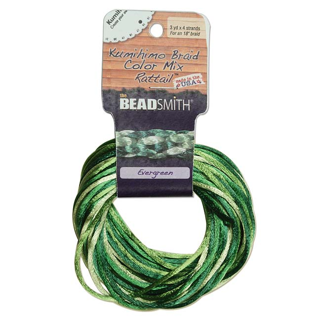 Satin Rattail Braiding Cord 1mm Evergreen Mix 4 Colors - 3 Yds Each