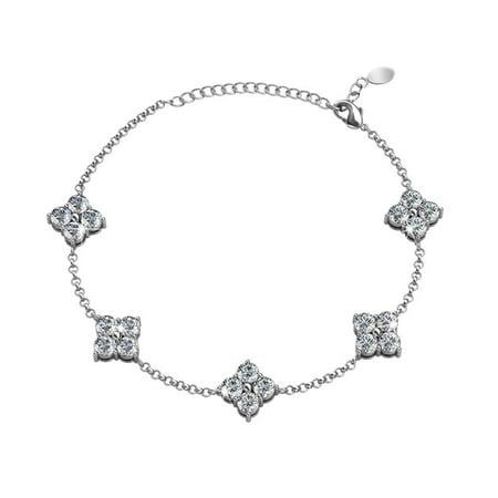 Adeline 18k White Gold Chain Bracelet with Swarovski Crystals Bracelet, Trendy Beautiful Sparkle Round Diamond Cut Crystal Cluster Bracelets for Women, Girls, Sparkling